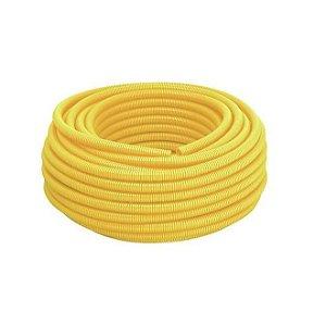 "Conduite Eletroduto Corrugado PVC 1"" pol ou 32 mm amarelo Rolo 25 metros antichamas - Real PVC"