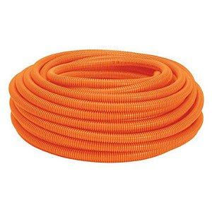 "Conduite Eletroduto Corrugado PVC 3/4"" pol ou 25 mm laranja Rolo 50 metros antichamas - Real PVC"