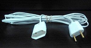 Extensão Elétrica 5 Metros 10a Bivolt 2p Fio 2x1,0mm Branco