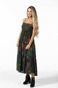 Vestido Cropped Estampado Coração Tropical Farm
