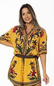 Camisa Manga Curta Uni Estampada Tapeçaria Tropical Farm