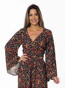 Blusa Cropped com Amarração Estampada Dança Chintz Farm