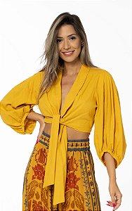 Blusa Cropped com Amarração em Linho Amarelo Lírio Farm
