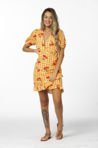 Vestido Curto Estampado Pitanga Vichy Amarelo Farm