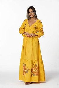 Vestido Com Bordado Floral Ponto Cruza Amarelo Farm