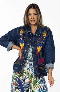 Jaqueta Jeans com Bordado Tapeçaria Tropical Farm