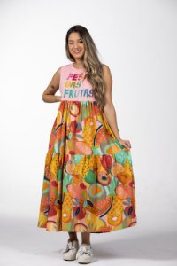 Vestido Midi Estampado Silk Frutas da Estação Farm