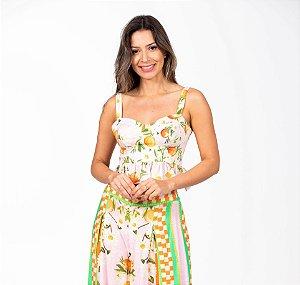 Blusa Cropped Estampada Sonho De Tangerina Farm