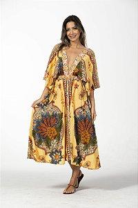 Vestido Midi Cropped Estampado Flor de Abacaxi Amarelo Farm