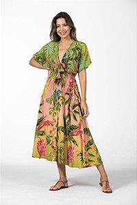 Vestido Midi Estampado Beleza Tropicana Multicolorido Farm