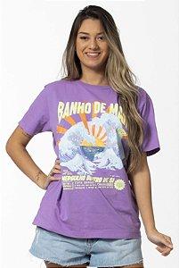 Blusa T-shirt Estampada Banho do Mar Lilás Hortência Farm