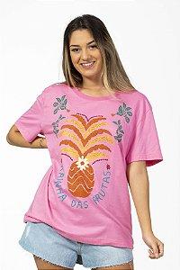 Blusa T-shirt Estampada Rainha das Frutas Rosa Farm