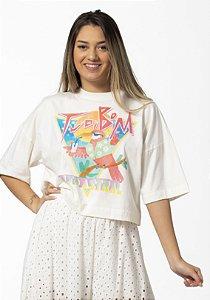 Blusa T-shirt com Estampa Tudo de Bom Off White Farm