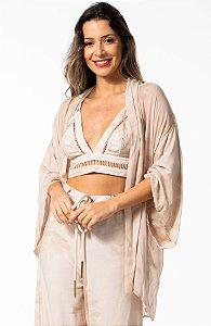 Kimono Estampado Creme Open