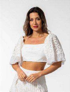 Blusa Cropped em Linho com Laise Off White Open