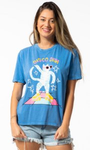 Blusa T-shirt com Estampa Azul Moon Oh, Boy!