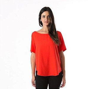 T-shirt Decote V Costas Vermelho Hindu Farm