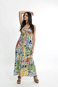 Vestido Midi Azulejaria Multicolorido Farm