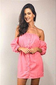 Vestido Ciganinha Linho com Botões Rosa