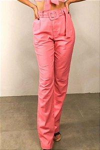 Calça Clochard Linho Reta com Bolso Rosa Flamingo