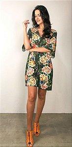 Vestido Curto Estampado Floral Camuflado Farm