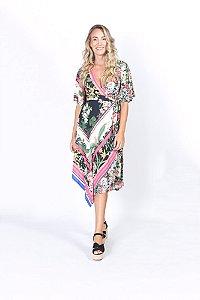 Vestido Cropped Estampado Lenço Floricultura