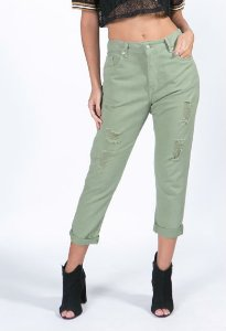 Calça Jeans Boyfriend Verde Pantanal Farm