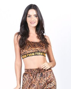 Top Cropped Regata Veludo Estampado Farm