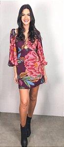 Vestido Curto com Fivela Estampado Rosa do Cerrado Farm