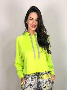 Blusa Moletom com Capuz Verde Color FYI