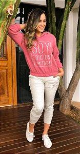 Conjunto Feminino Blusa Tricot e Calça Jogger Cinza com Rosê
