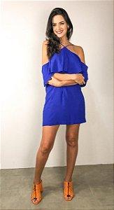 Vestido Curto com Recorte nas Mangas Azul Bic FYI