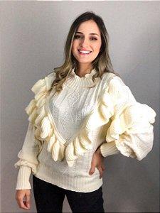 Blusa Tricot Com Babados na Frente Off White