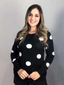 Blusa Tricot Estampado  Maxi Poá Preto e Branco