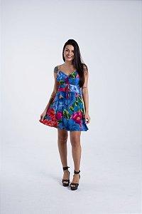 Vestido Curto Estampado Bela Chita Azul Farm