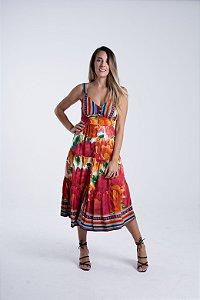 Vestido Midi com Botões Estampado Balika Farm