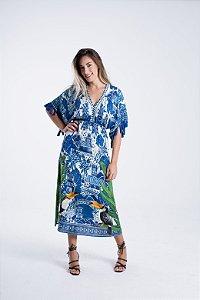 Vestido Midi Estampado Azulejo Macau Farm