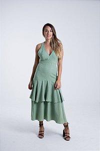 Vestido Midi com Babados Verde Canoa Farm