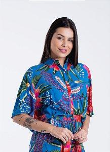 Camisa Feminina Estampada Magia de Floresta Azul Farm