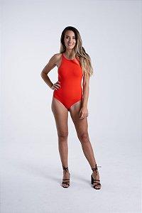 Body com Decote Alto Ribana Vermelho Copa Farm