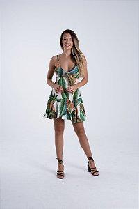 Vestido Curto com Babado Estampado Tropical Artesanal Farm