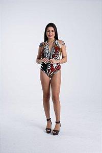 Body com Amarração Estampado Beleza Gráfica Farm