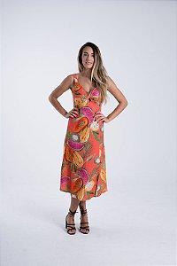 Vestido Midi Estampado Frutas em Cor Rosa Xodó Farm