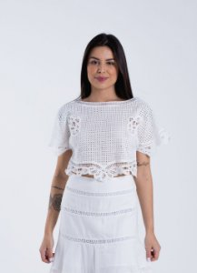 Blusa Guipir Decote Canoa Off White Farm