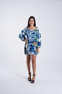 Vestido Curto Estampado Azulejo Macau Farm