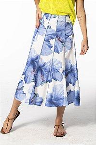 Saia Midi Evasê com Recortes Estampada Vestida de Flor Farm