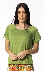 T-shirt Raglan de Linho Verde Hera Farm