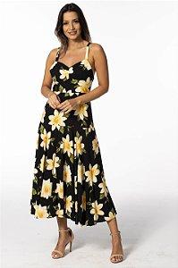 Vestido Midi Estampado Menina de Flor Farm