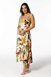 Vestido Transpassado Estampado Mistura Dança dos Tucanos Farm