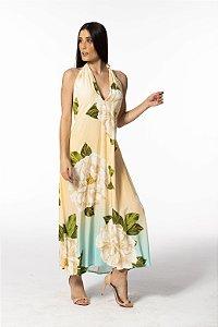 Vestido Cropped Frente Única Estampado Ano Novo Floral Farm